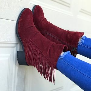 Leather Red Wine Boho Fringe Tall Ankle Boots